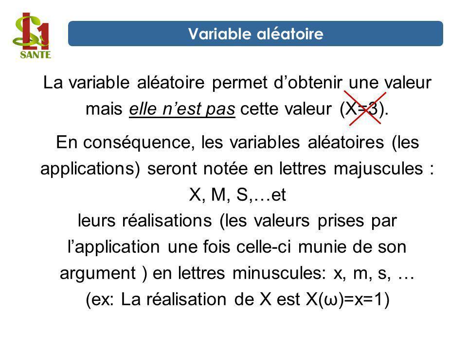 La variable aléatoire permet dobtenir une valeur mais elle nest pas cette valeur (X=3). En conséquence, les variables aléatoires (les applications) se