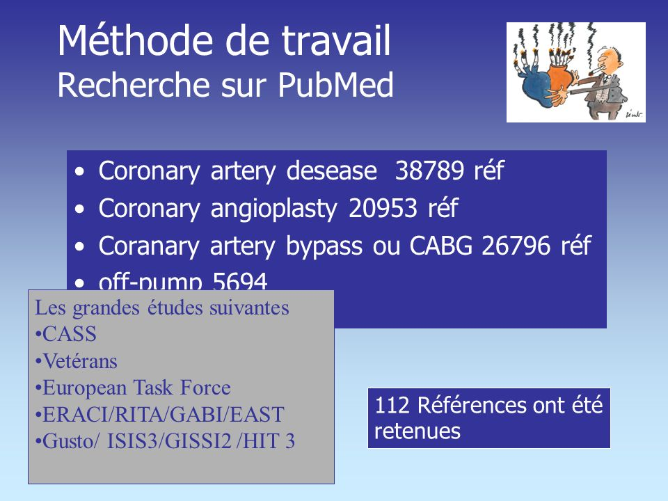 Méthode de travail Recherche sur PubMed Coronary artery desease 38789 réf Coronary angioplasty 20953 réf Coranary artery bypass ou CABG 26796 réf off-pump 5694 Les grandes études suivantes CASS Vetérans European Task Force ERACI/RITA/GABI/EAST Gusto/ ISIS3/GISSI2 /HIT 3 112 Références ont été retenues