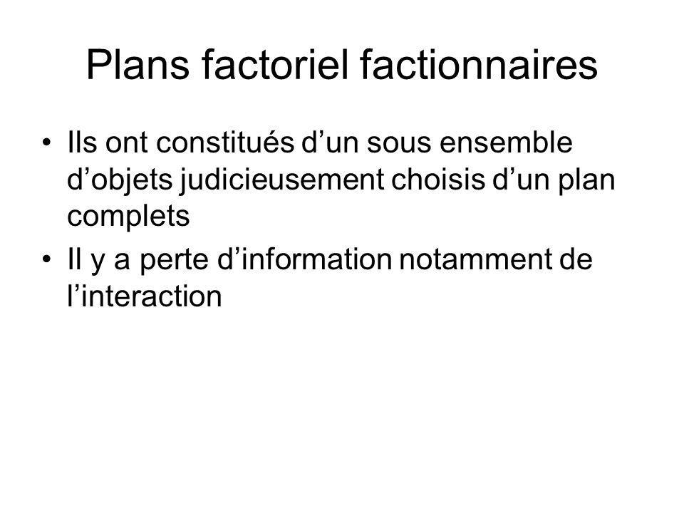 Plans factoriel factionnaires Ils ont constitués dun sous ensemble dobjets judicieusement choisis dun plan complets Il y a perte dinformation notammen