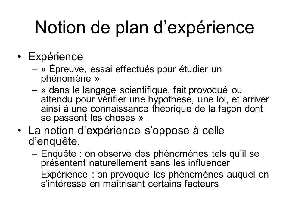 Notion de plan dexpérience Expérience –« Épreuve, essai effectués pour étudier un phénomène » –« dans le langage scientifique, fait provoqué ou attend