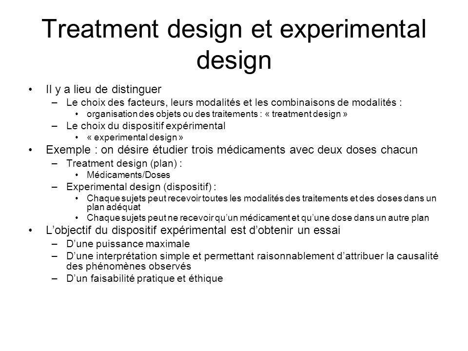 Treatment design et experimental design Il y a lieu de distinguer –Le choix des facteurs, leurs modalités et les combinaisons de modalités : organisat