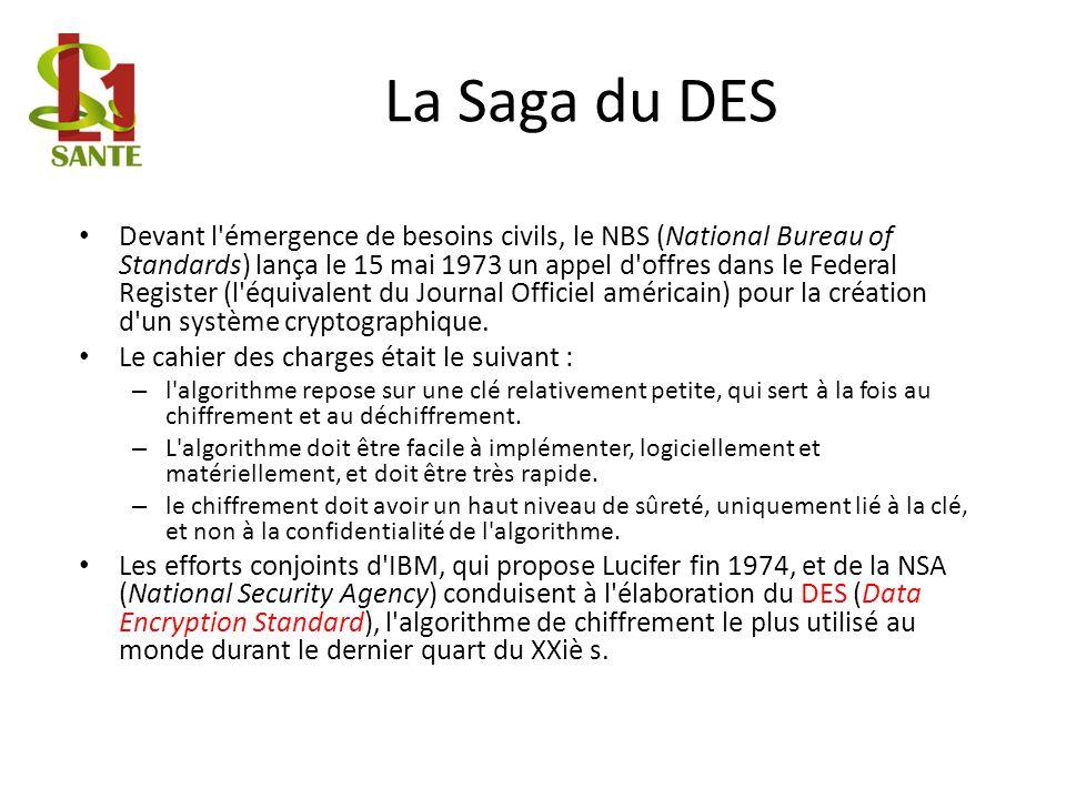 La Saga du DES Devant l'émergence de besoins civils, le NBS (National Bureau of Standards) lança le 15 mai 1973 un appel d'offres dans le Federal Regi
