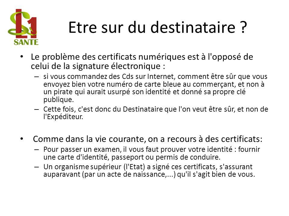 Etre sur du destinataire ? Le problème des certificats numériques est à l'opposé de celui de la signature électronique : – si vous commandez des Cds s