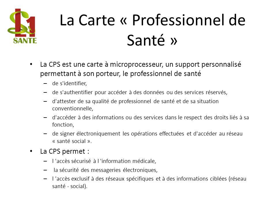 La Carte « Professionnel de Santé » La CPS est une carte à microprocesseur, un support personnalisé permettant à son porteur, le professionnel de sant