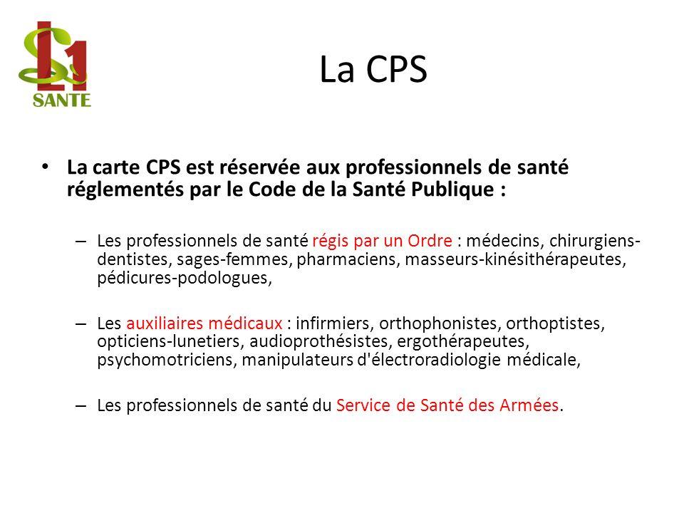 La CPS La carte CPS est réservée aux professionnels de santé réglementés par le Code de la Santé Publique : – Les professionnels de santé régis par un