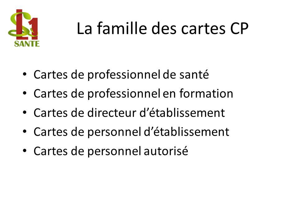 La famille des cartes CP Cartes de professionnel de santé Cartes de professionnel en formation Cartes de directeur détablissement Cartes de personnel