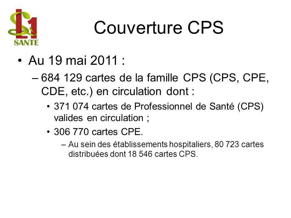 Couverture CPS Au 19 mai 2011 : –684 129 cartes de la famille CPS (CPS, CPE, CDE, etc.) en circulation dont : 371 074 cartes de Professionnel de Santé