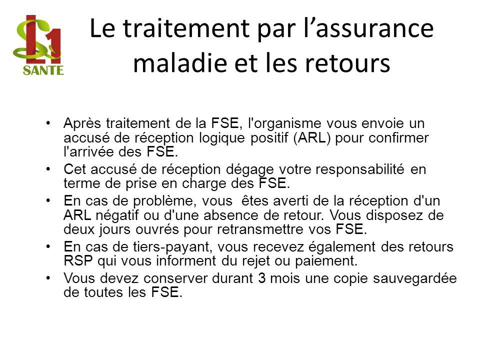 Le traitement par lassurance maladie et les retours Après traitement de la FSE, l'organisme vous envoie un accusé de réception logique positif (ARL) p