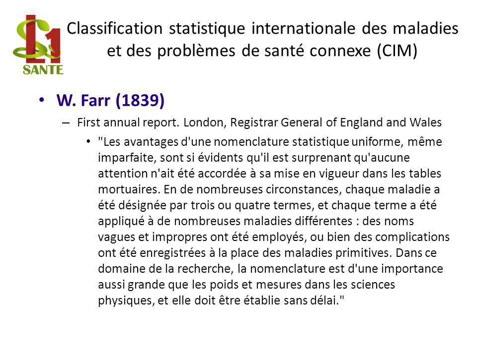 Classification statistique internationale des maladies et des problèmes de santé connexe (CIM) W. Farr (1839) – First annual report. London, Registrar