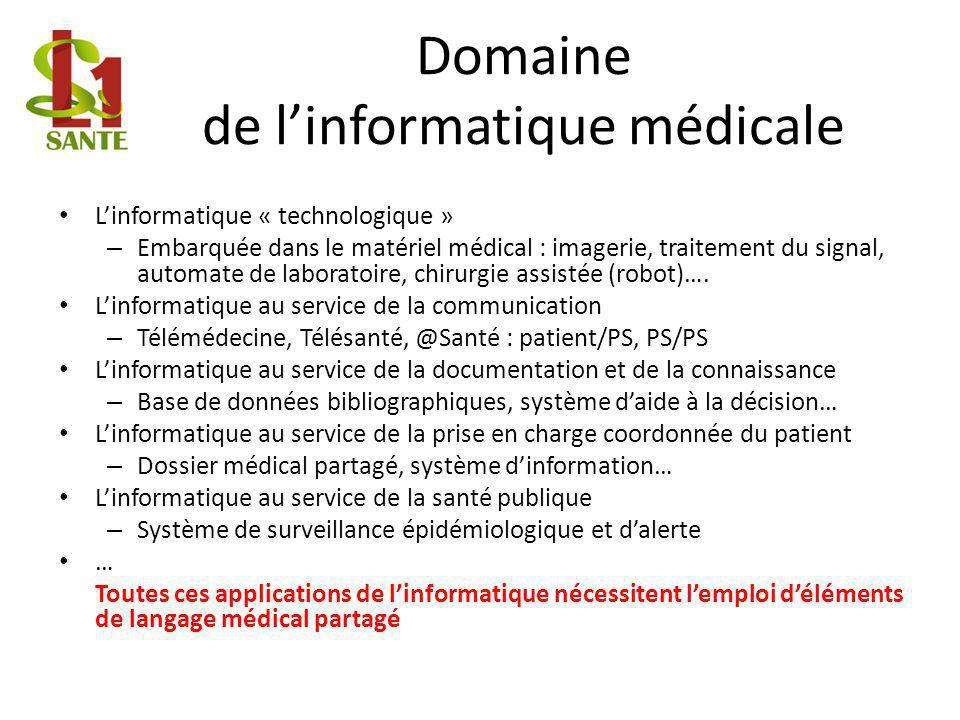 Domaine de linformatique médicale Linformatique « technologique » – Embarquée dans le matériel médical : imagerie, traitement du signal, automate de l
