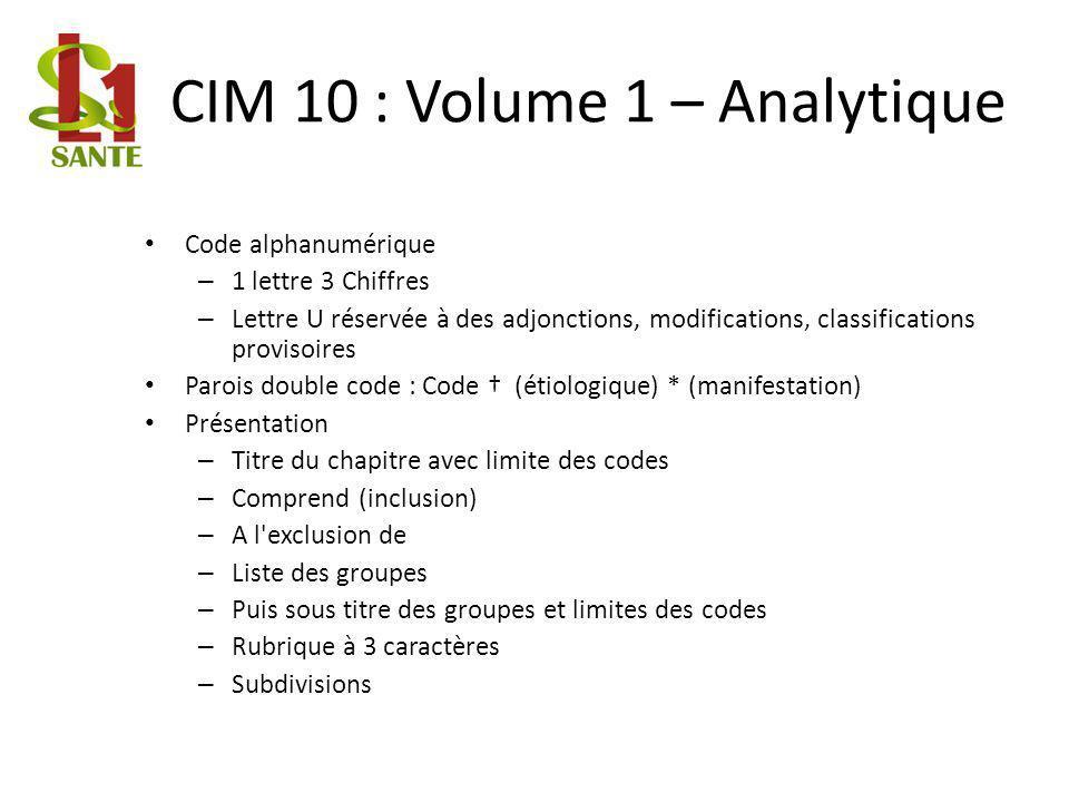 CIM 10 : Volume 1 – Analytique Code alphanumérique – 1 lettre 3 Chiffres – Lettre U réservée à des adjonctions, modifications, classifications proviso