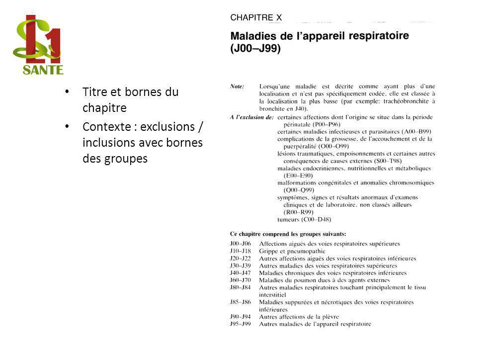 Titre et bornes du chapitre Contexte : exclusions / inclusions avec bornes des groupes Exemple