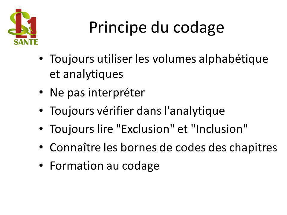 Principe du codage Toujours utiliser les volumes alphabétique et analytiques Ne pas interpréter Toujours vérifier dans l'analytique Toujours lire