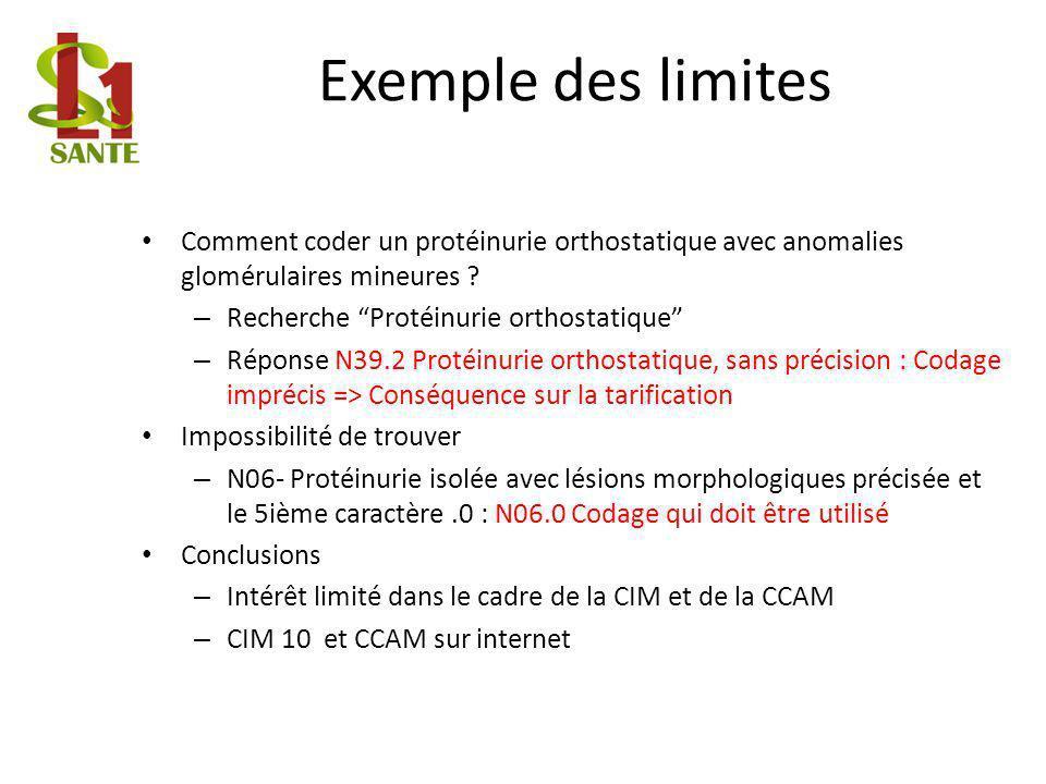 Exemple des limites Comment coder un protéinurie orthostatique avec anomalies glomérulaires mineures ? – Recherche Protéinurie orthostatique – Réponse