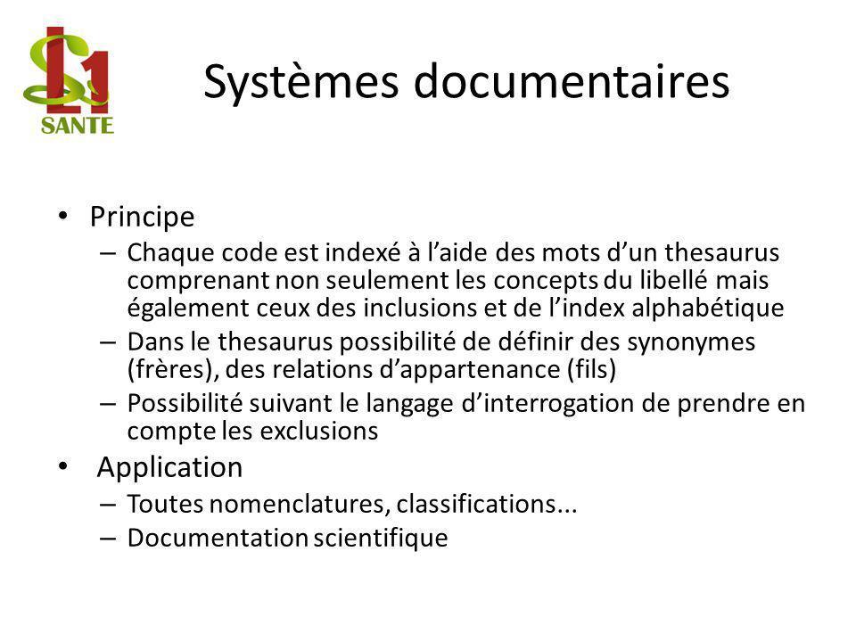 Systèmes documentaires Principe – Chaque code est indexé à laide des mots dun thesaurus comprenant non seulement les concepts du libellé mais égalemen