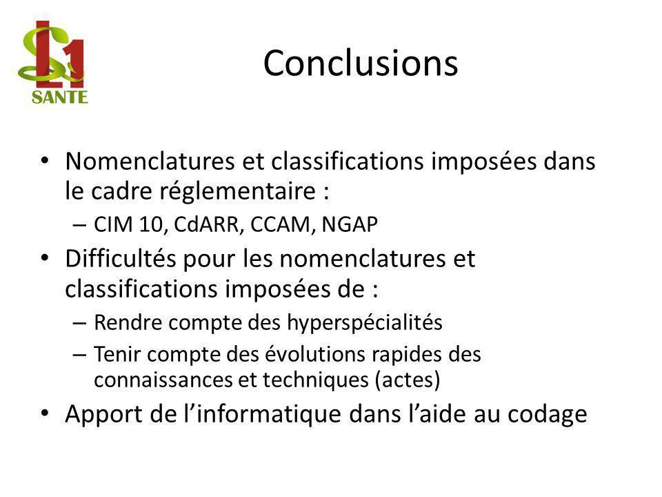 Conclusions Nomenclatures et classifications imposées dans le cadre réglementaire : – CIM 10, CdARR, CCAM, NGAP Difficultés pour les nomenclatures et
