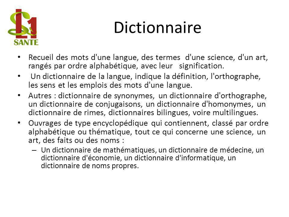 Dictionnaire Recueil des mots d'une langue, des termes d'une science, d'un art, rangés par ordre alphabétique, avec leur signification. Un dictionnair