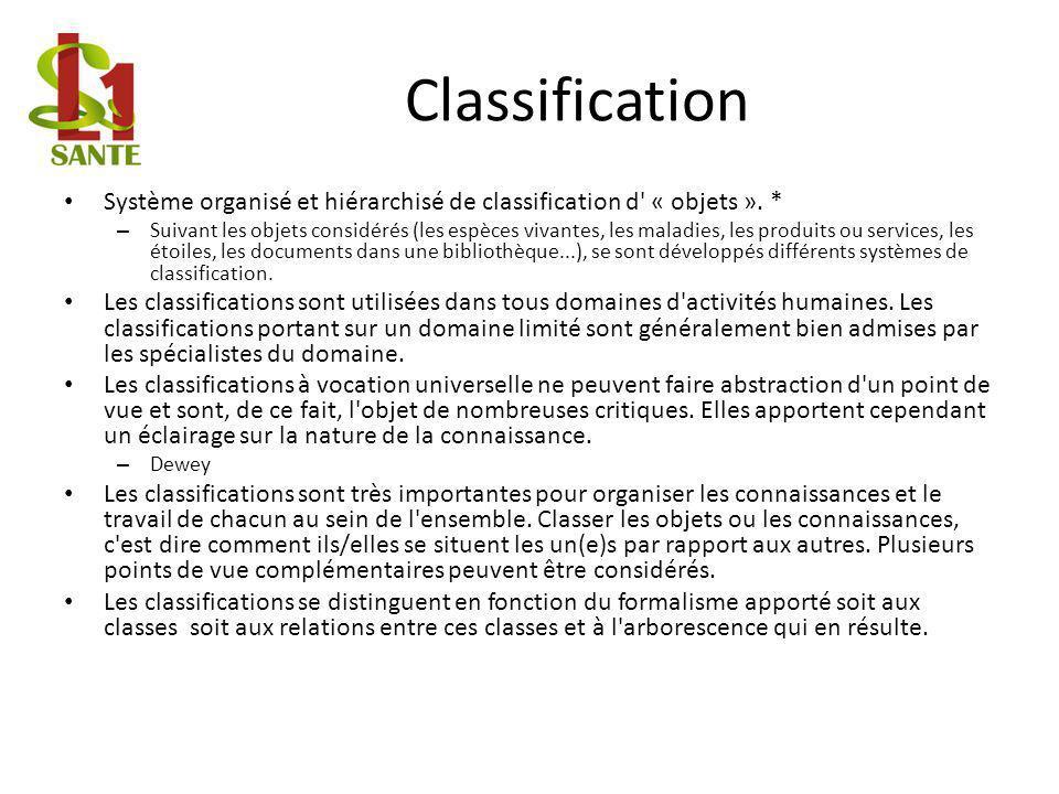 Classification Système organisé et hiérarchisé de classification d' « objets ». * – Suivant les objets considérés (les espèces vivantes, les maladies,