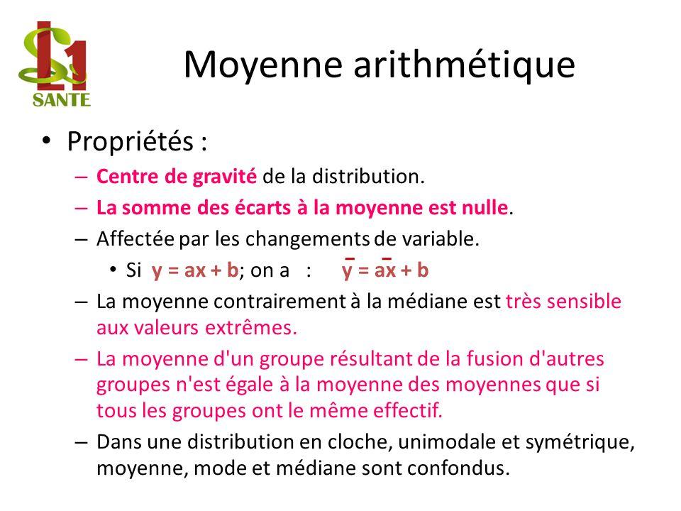 Moyenne arithmétique Propriétés : – Centre de gravité de la distribution.