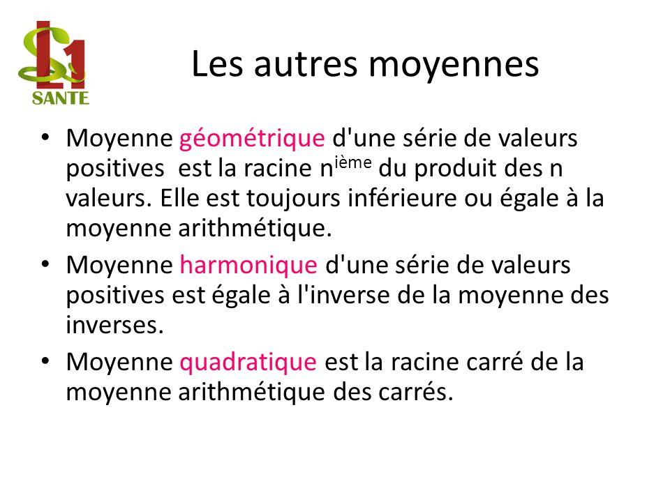 Les autres moyennes Moyenne géométrique d une série de valeurs positives est la racine n ième du produit des n valeurs.