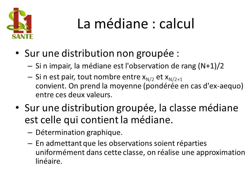 La médiane : calcul Sur une distribution non groupée : – Si n impair, la médiane est l observation de rang (N+1)/2 – Si n est pair, tout nombre entre x N/2 et x N/2+1 convient.