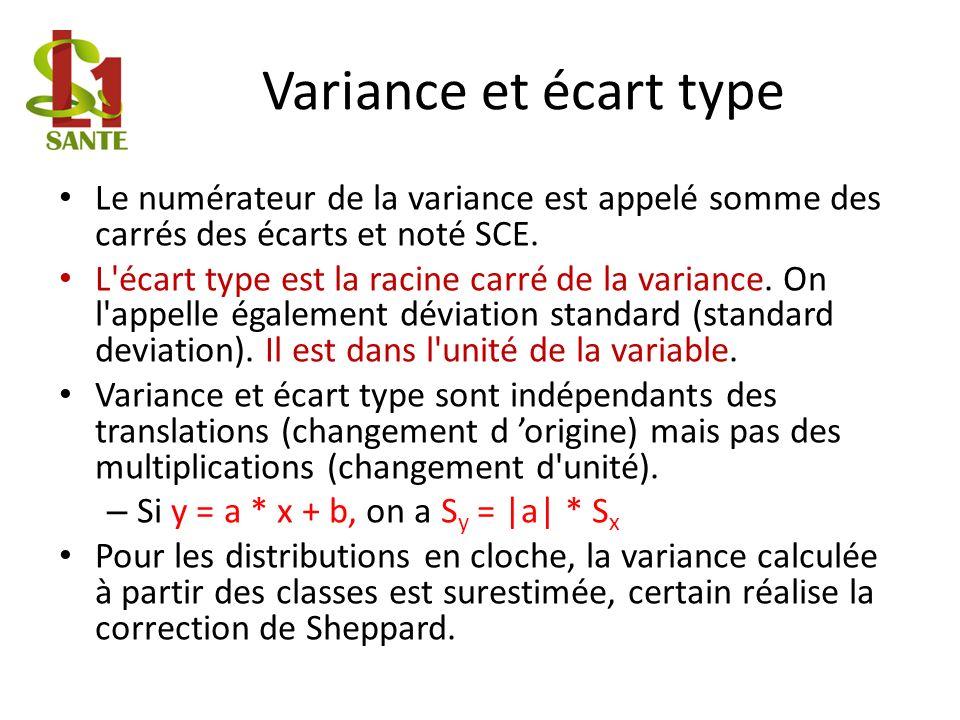 Variance et écart type Le numérateur de la variance est appelé somme des carrés des écarts et noté SCE.