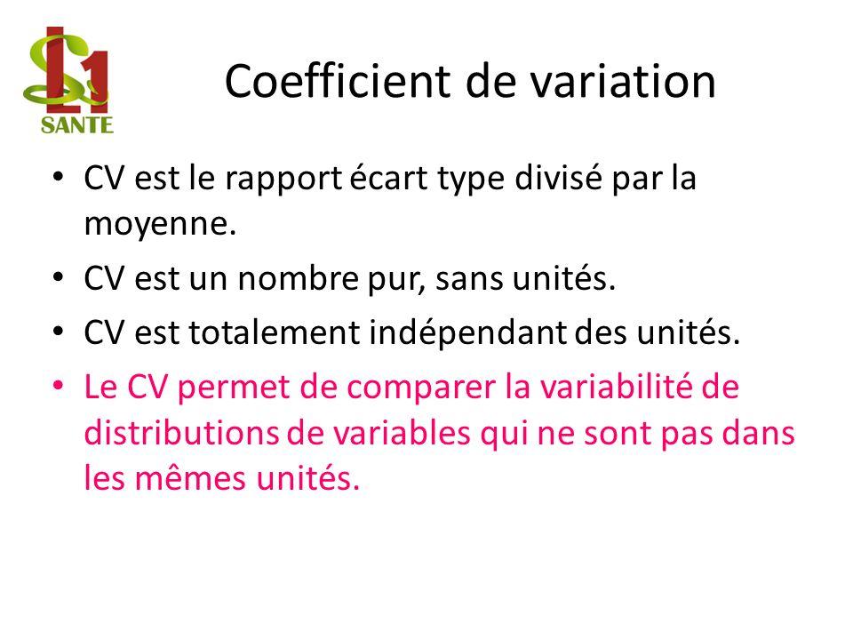 Coefficient de variation CV est le rapport écart type divisé par la moyenne.