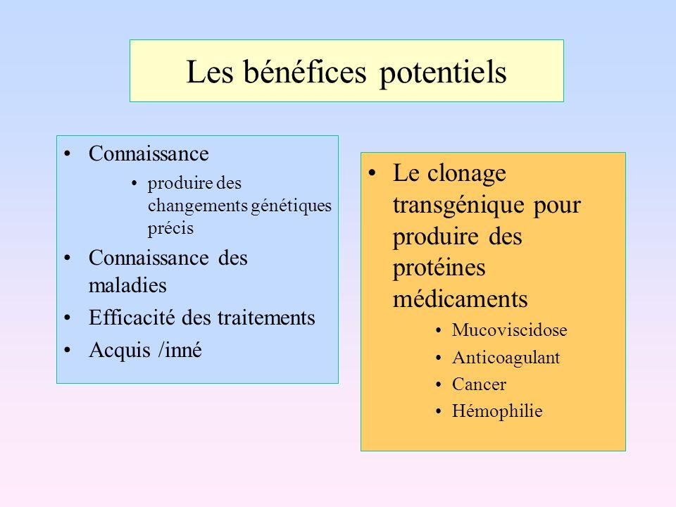 Les bénéfices potentiels Connaissance produire des changements génétiques précis Connaissance des maladies Efficacité des traitements Acquis /inné Le