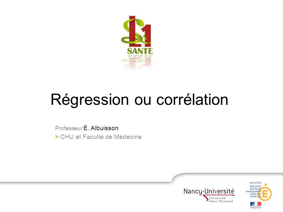 Régression ou corrélation Professeur E. Albuisson > CHU et Faculté de Médecine