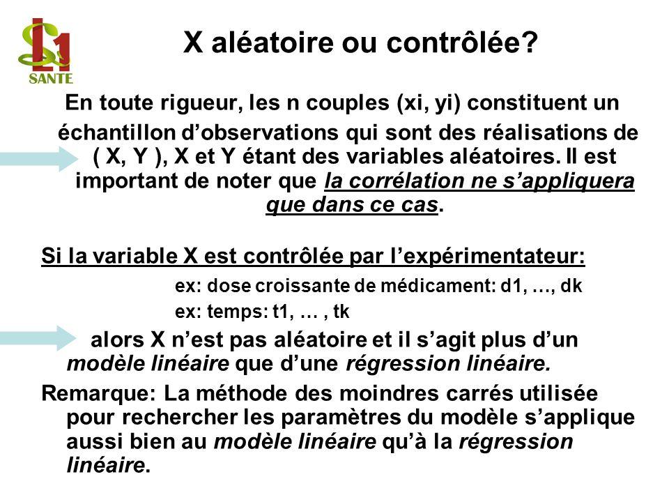 En toute rigueur, les n couples (xi, yi) constituent un échantillon dobservations qui sont des réalisations de ( X, Y ), X et Y étant des variables al
