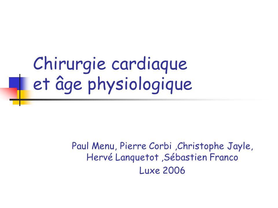 Chirurgie cardiaque et âge physiologique Paul Menu, Pierre Corbi,Christophe Jayle, Hervé Lanquetot,Sébastien Franco Luxe 2006