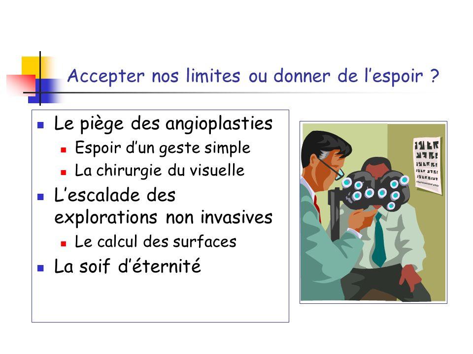 Accepter nos limites ou donner de lespoir ? Le piège des angioplasties Espoir dun geste simple La chirurgie du visuelle Lescalade des explorations non