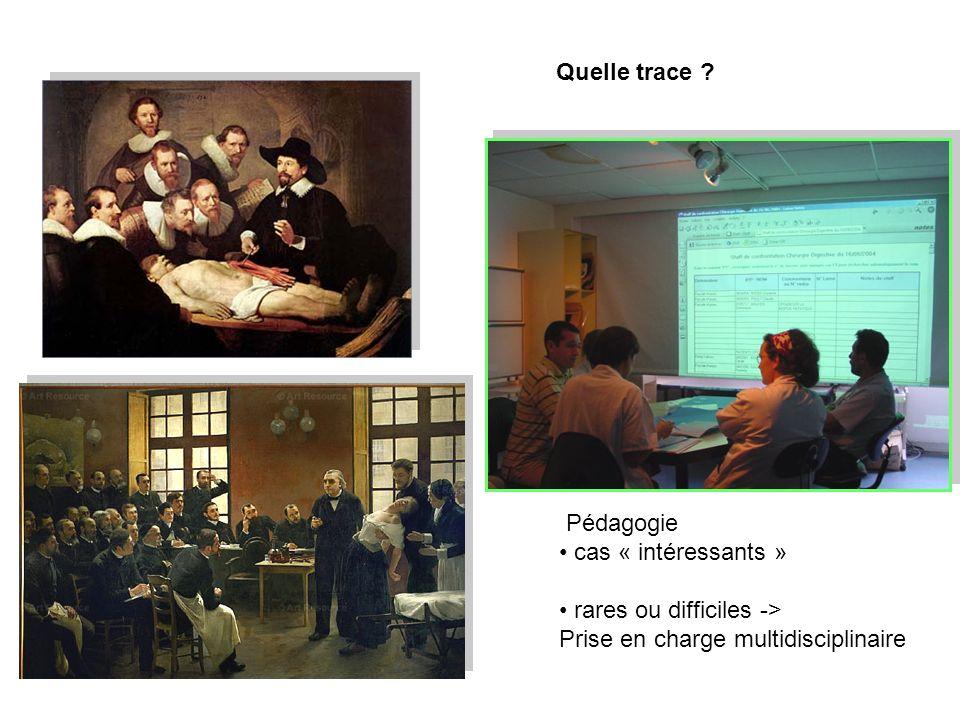 Pédagogie cas « intéressants » rares ou difficiles -> Prise en charge multidisciplinaire Quelle trace