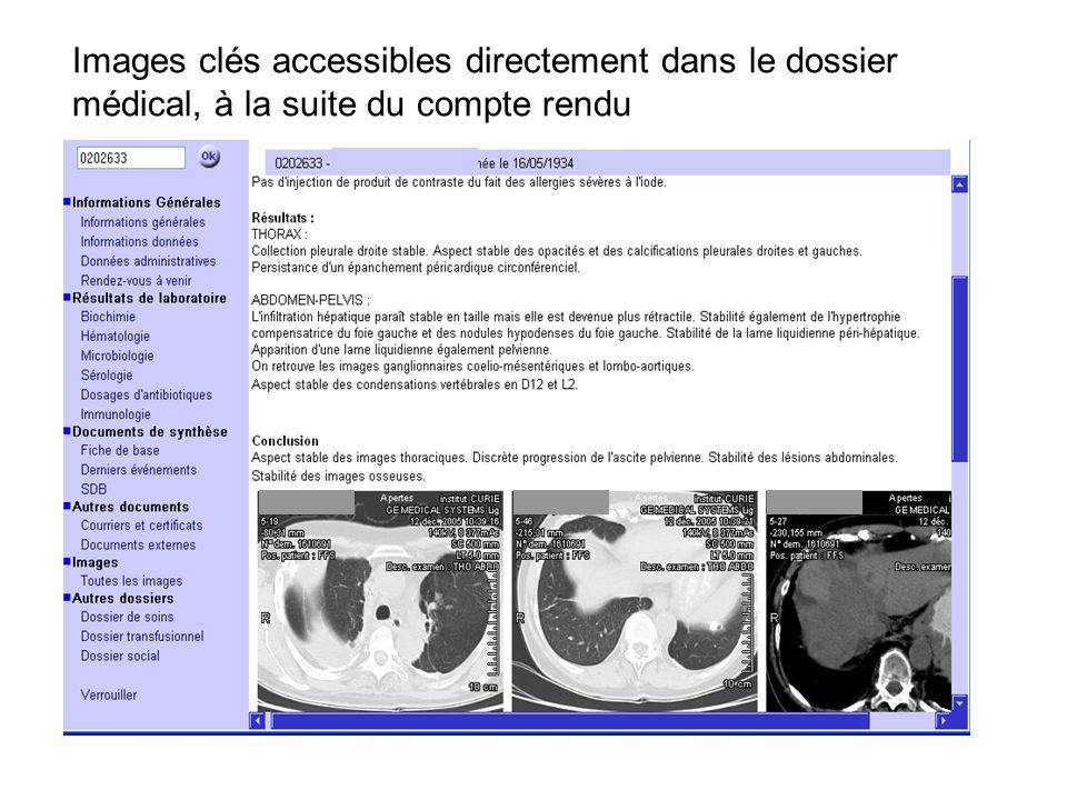 Images clés accessibles directement dans le dossier médical, à la suite du compte rendu