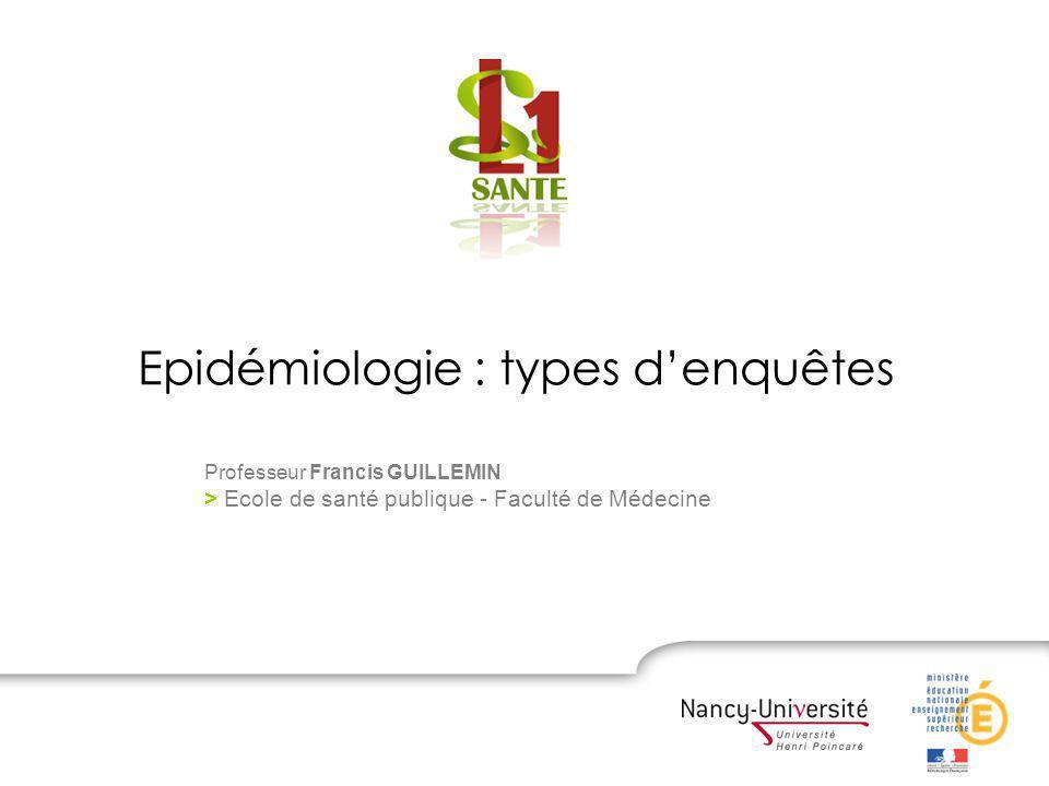 Epidémiologie : types denquêtes Professeur Francis GUILLEMIN > Ecole de santé publique - Faculté de Médecine