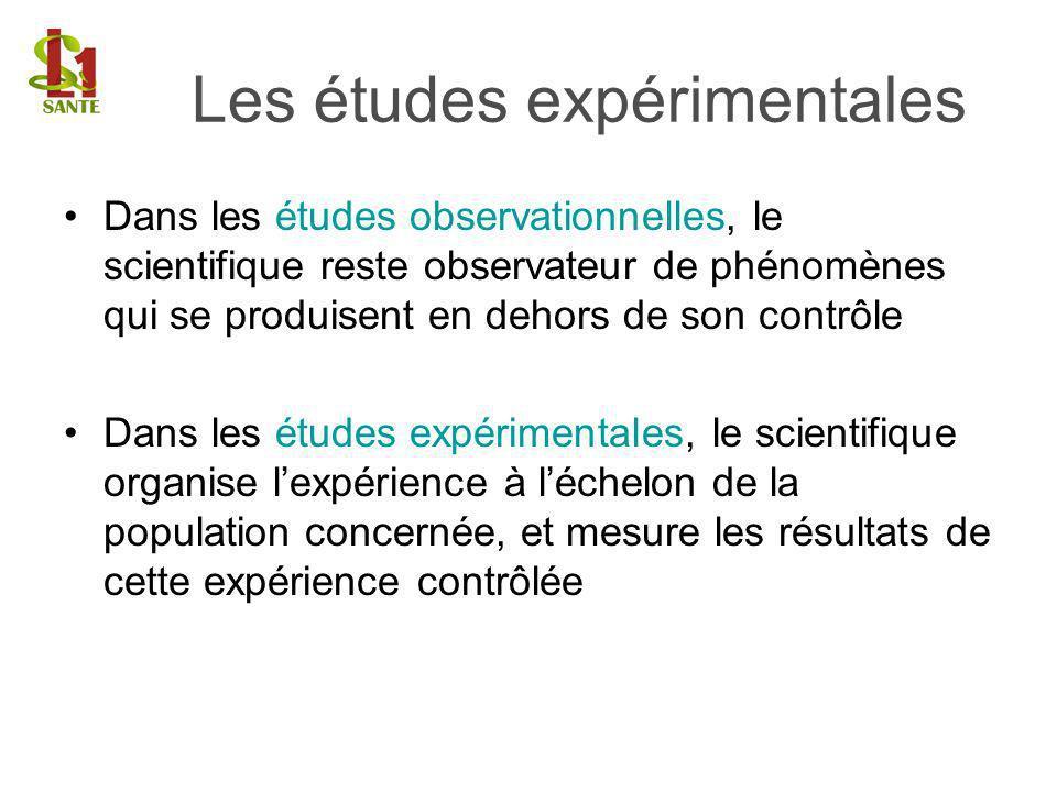 Dans les études observationnelles, le scientifique reste observateur de phénomènes qui se produisent en dehors de son contrôle Dans les études expérim
