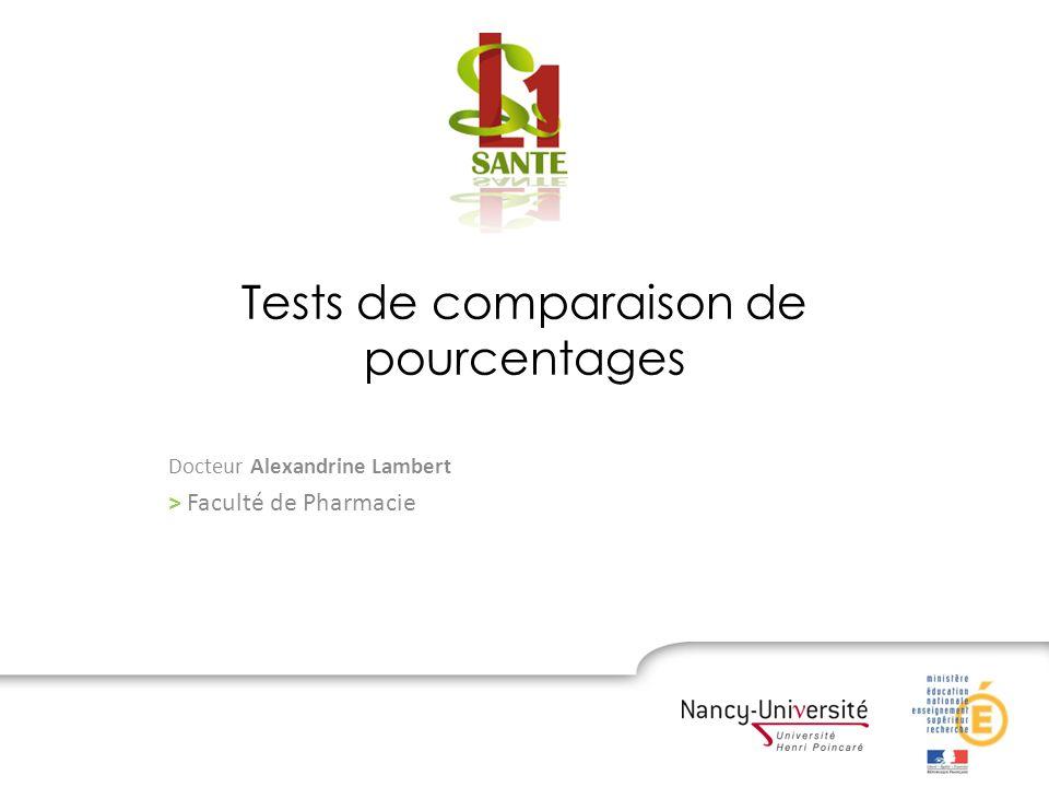 Tests de comparaison de pourcentages Docteur Alexandrine Lambert > Faculté de Pharmacie
