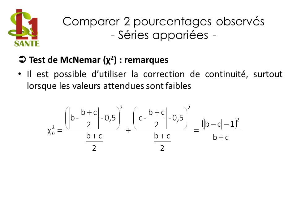 Comparer 2 pourcentages observés - Séries appariées - Test de McNemar (χ 2 ) : remarques Il est possible dutiliser la correction de continuité, surtou
