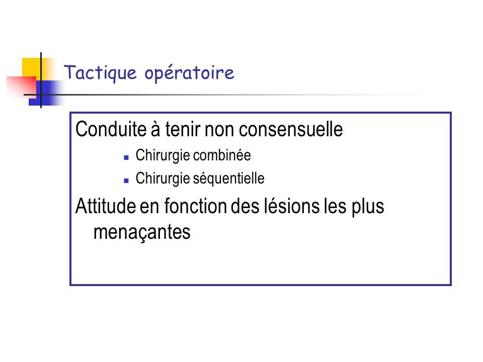 Tactique opératoire Conduite à tenir non consensuelle Chirurgie combinée Chirurgie séquentielle Attitude en fonction des lésions les plus menaçantes