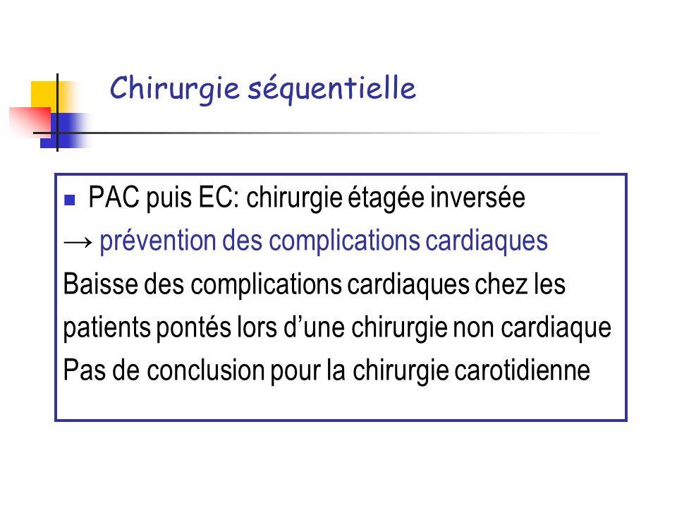 Chirurgie séquentielle PAC puis EC: chirurgie étagée inversée prévention des complications cardiaques Baisse des complications cardiaques chez les pat