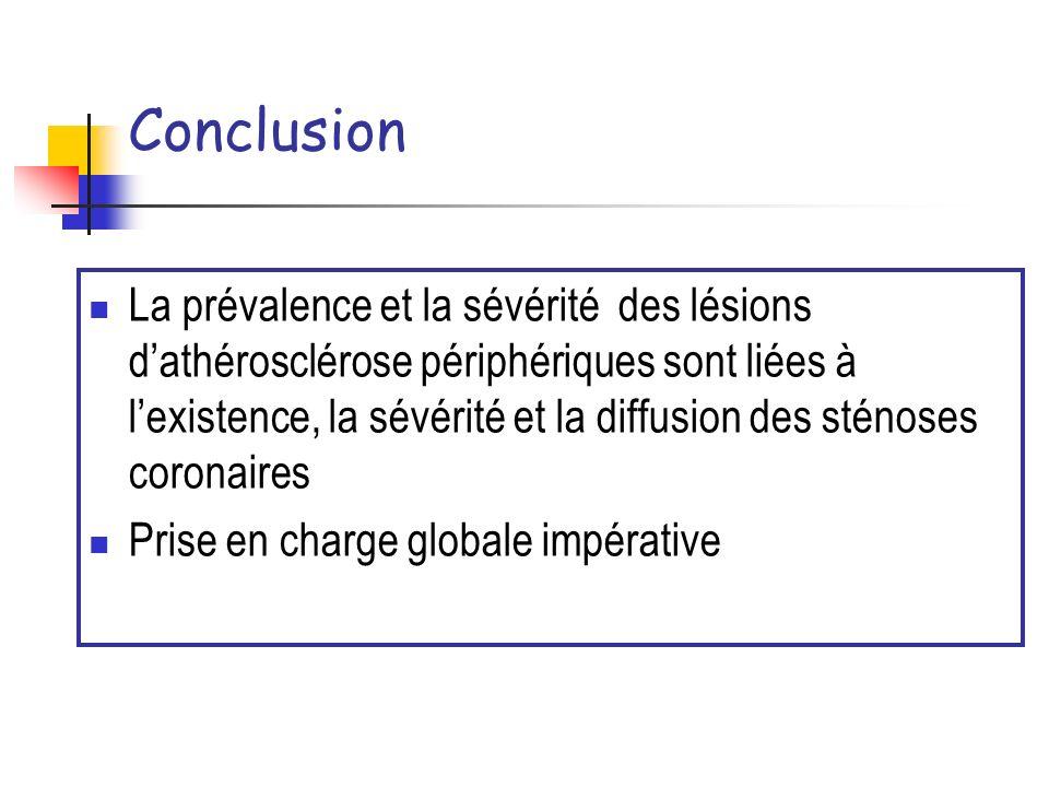 Conclusion La prévalence et la sévérité des lésions dathérosclérose périphériques sont liées à lexistence, la sévérité et la diffusion des sténoses co