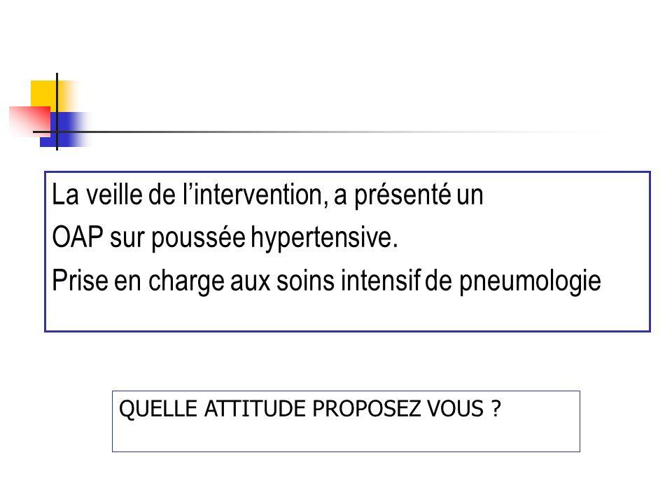 La veille de lintervention, a présenté un OAP sur poussée hypertensive. Prise en charge aux soins intensif de pneumologie QUELLE ATTITUDE PROPOSEZ VOU