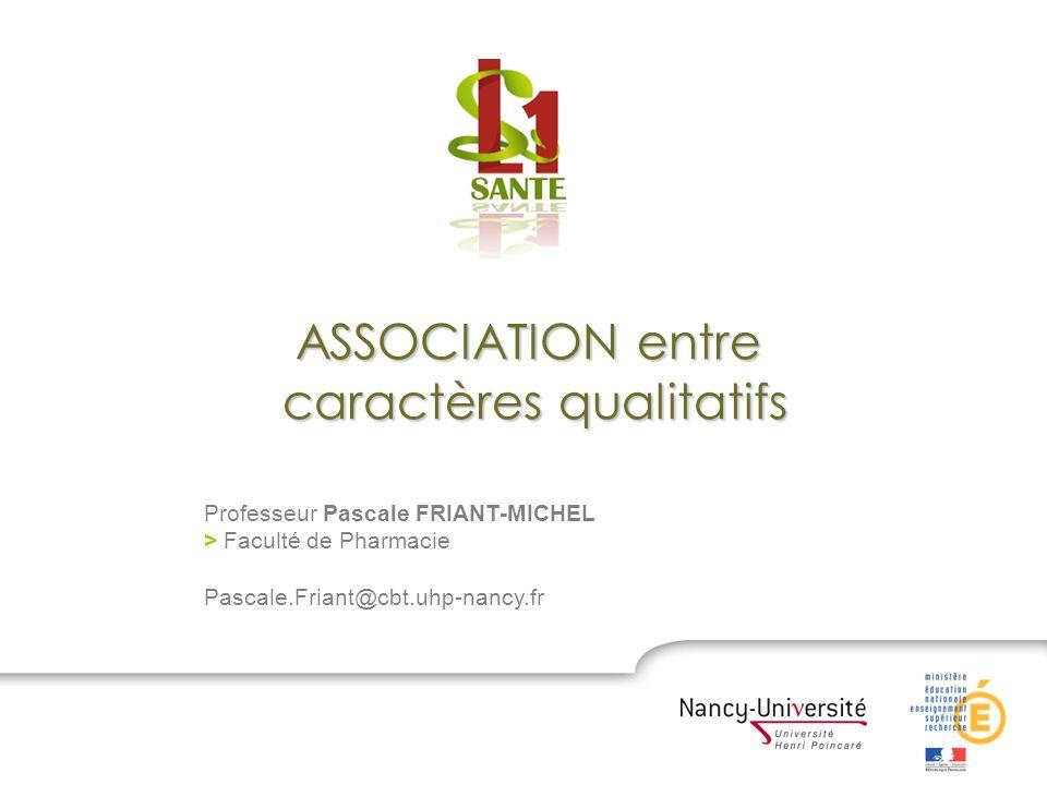 Professeur Pascale FRIANT-MICHEL > Faculté de Pharmacie Pascale.Friant@cbt.uhp-nancy.fr ASSOCIATION entre caractères qualitatifs