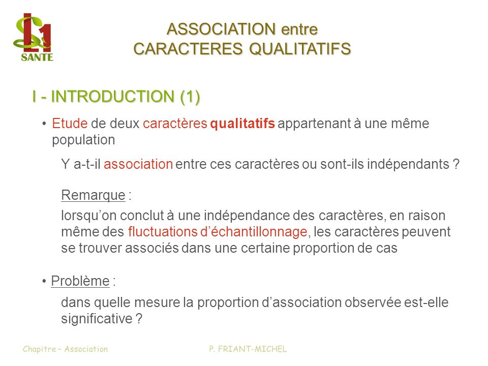 I - INTRODUCTION (1) ASSOCIATION entre CARACTERES QUALITATIFS Y a-t-il association entre ces caractères ou sont-ils indépendants ? Etude de deux carac