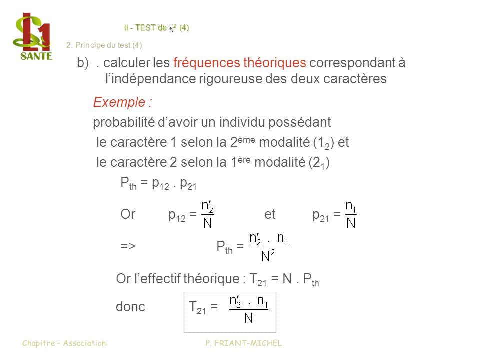 II - TEST de 2 (4) II - TEST de x2 (4) b). calculer les fréquences théoriques correspondant à lindépendance rigoureuse des deux caractères Exemple : p