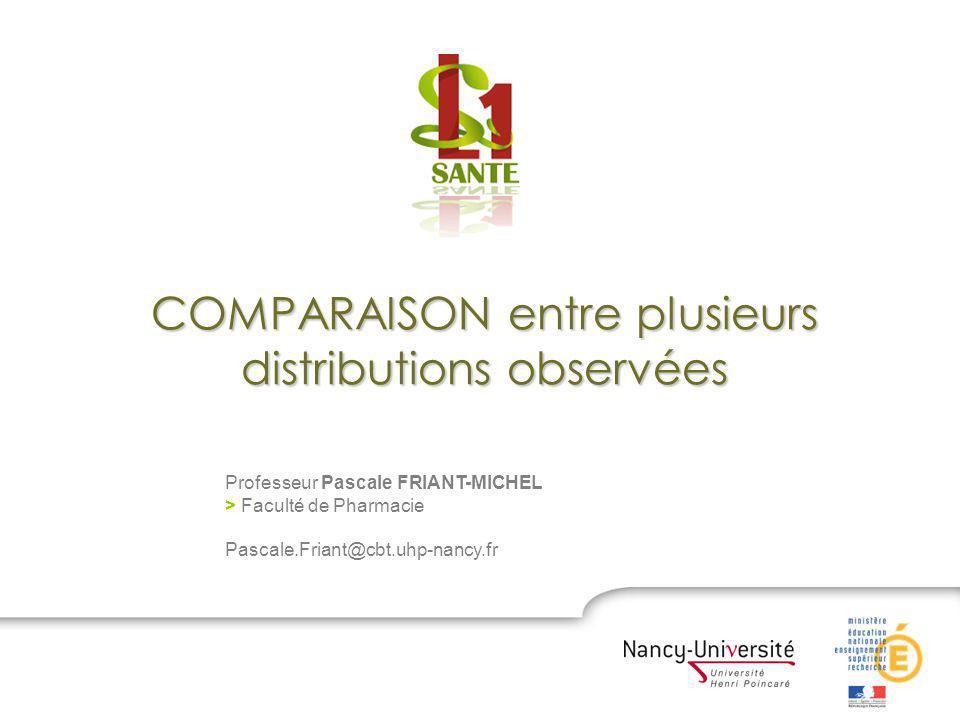 COMPARAISON entre plusieurs distributions observées Professeur Pascale FRIANT-MICHEL > Faculté de Pharmacie Pascale.Friant@cbt.uhp-nancy.fr
