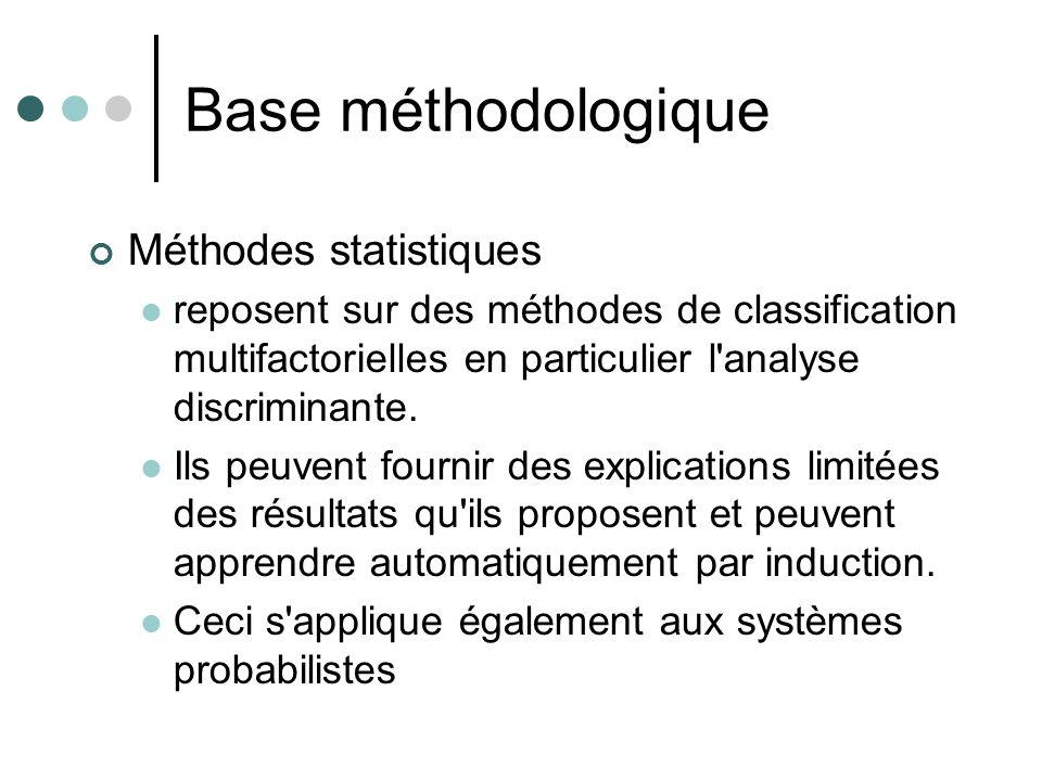 Base méthodologique Méthodes statistiques reposent sur des méthodes de classification multifactorielles en particulier l'analyse discriminante. Ils pe