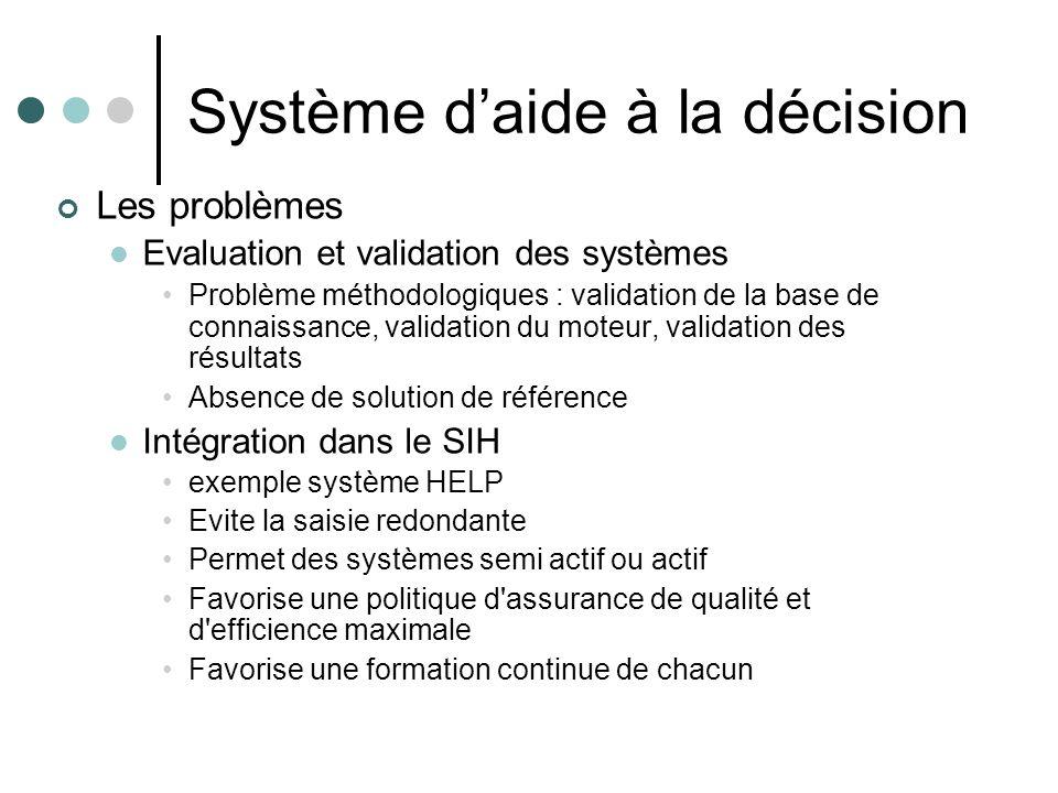 Système daide à la décision Les problèmes Evaluation et validation des systèmes Problème méthodologiques : validation de la base de connaissance, vali