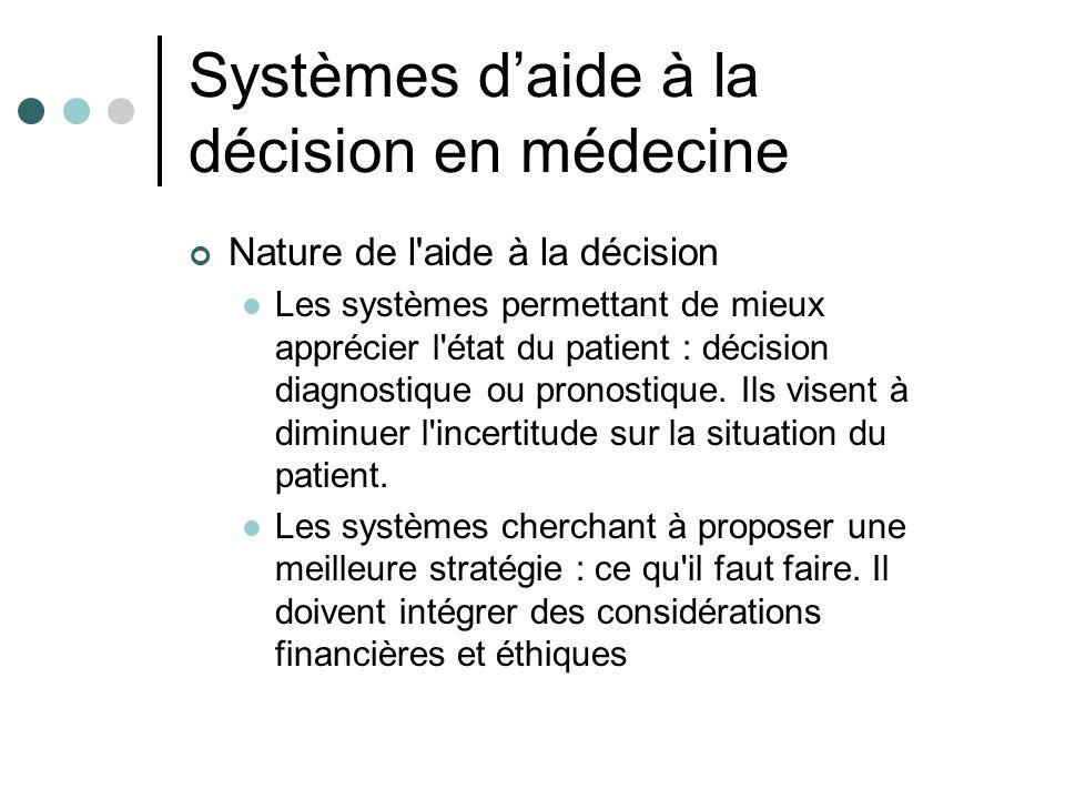 Systèmes daide à la décision en médecine Nature de l'aide à la décision Les systèmes permettant de mieux apprécier l'état du patient : décision diagno