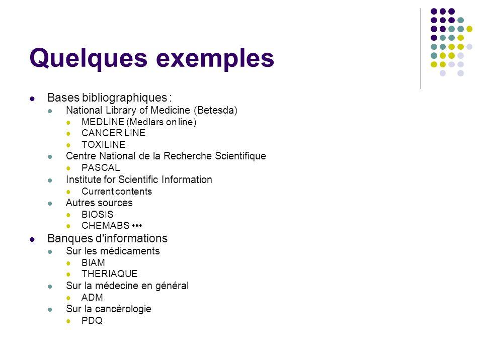 Quelques exemples Bases bibliographiques : National Library of Medicine (Betesda) MEDLINE (Medlars on line) CANCER LINE TOXILINE Centre National de la